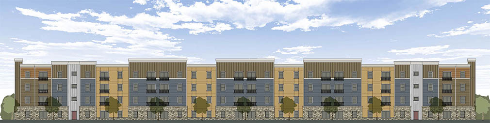 Artist Rendering of Sansom Pointe Senior Apartments