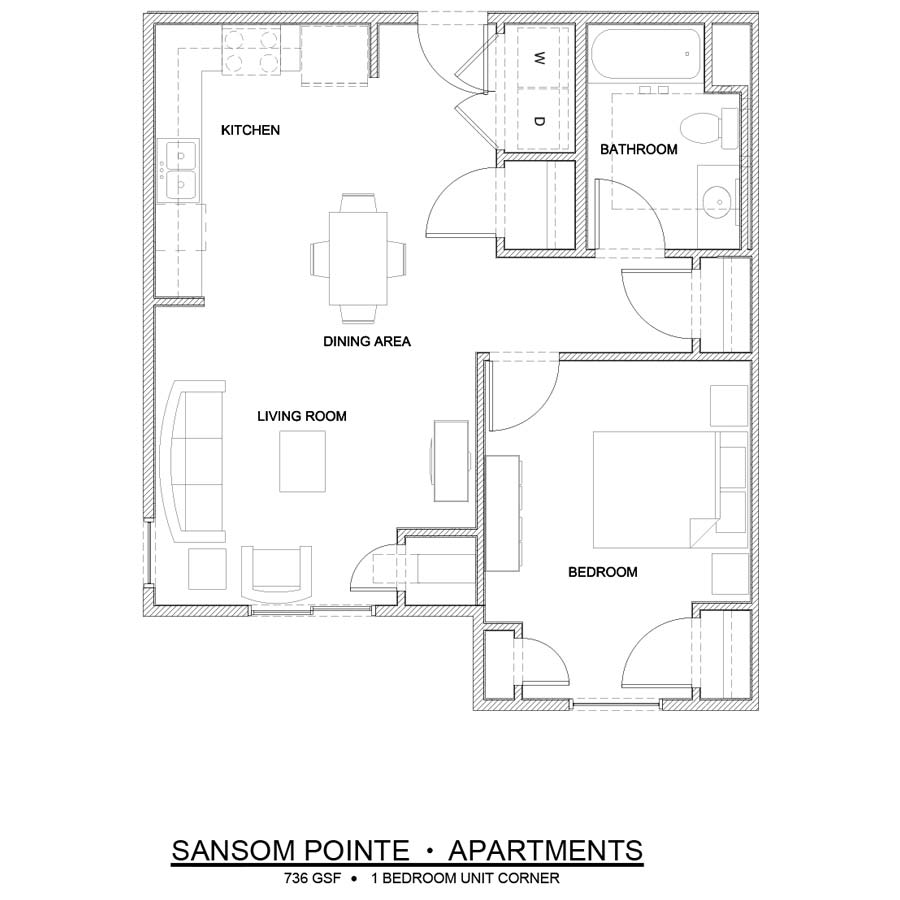 Sansom Pointe 1 Bedroom floor plan 736 square feet corner unit