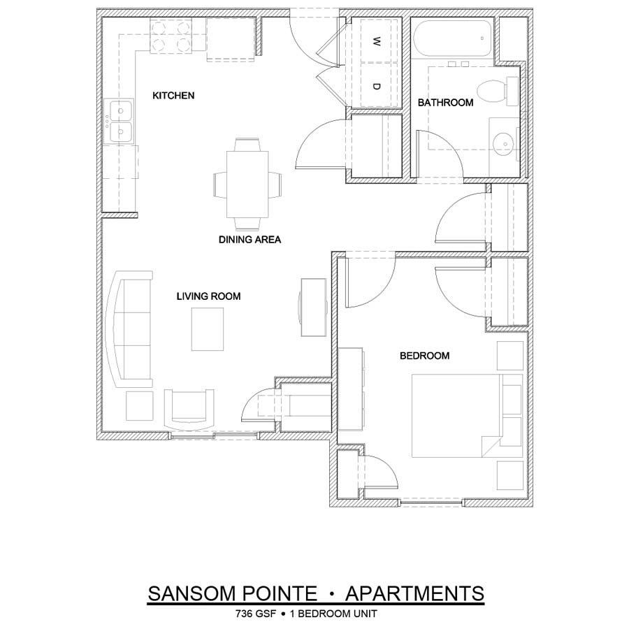 Sansom Pointe 1 Bedroom floor plan 736 square feet