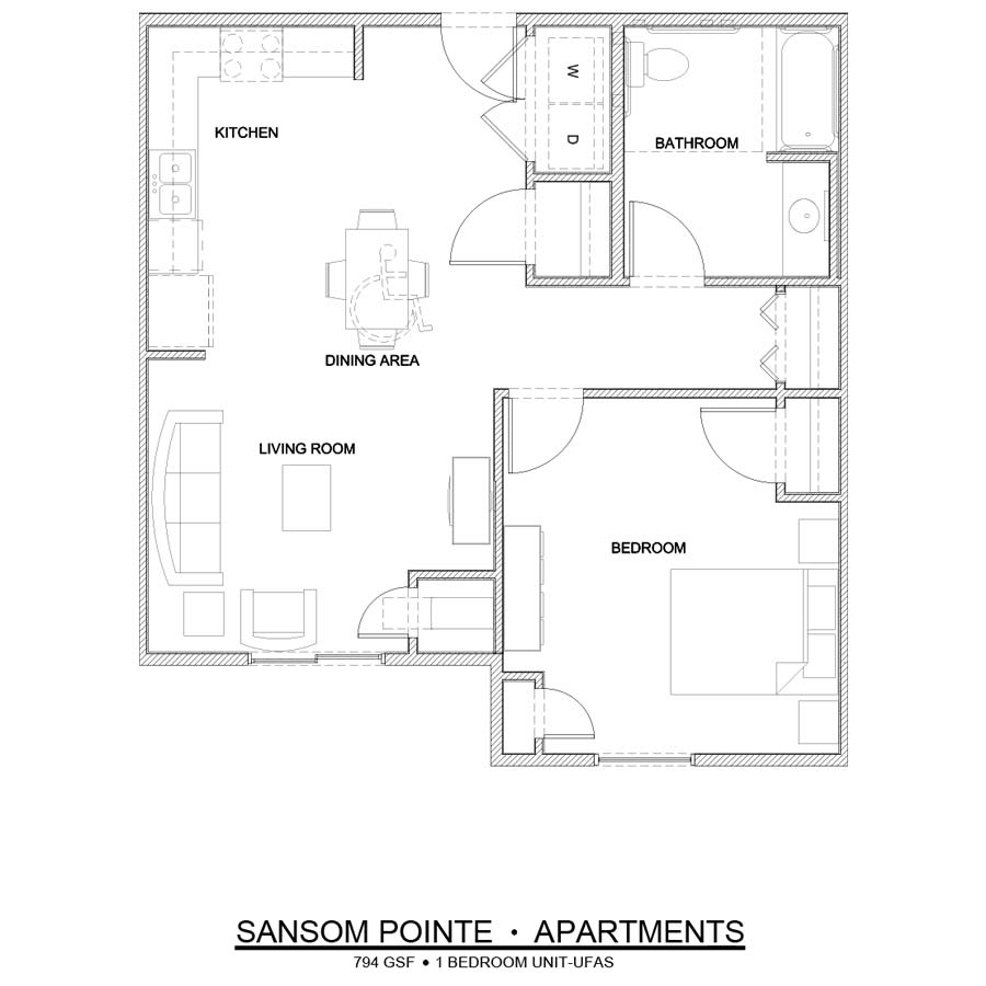 Sansom Pointe 1 Bedroom floor plan UFAS handicap accessible 794 square feet