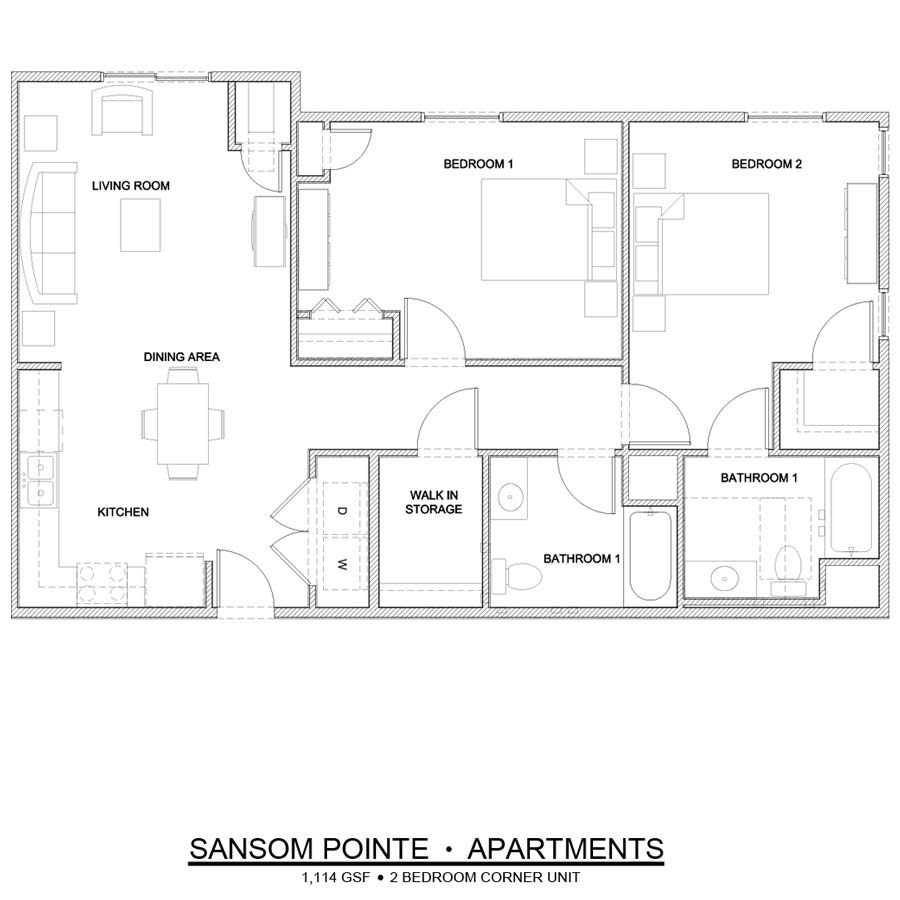 Sansom Pointe 2 Bedroom floor plan 1,114 square feet