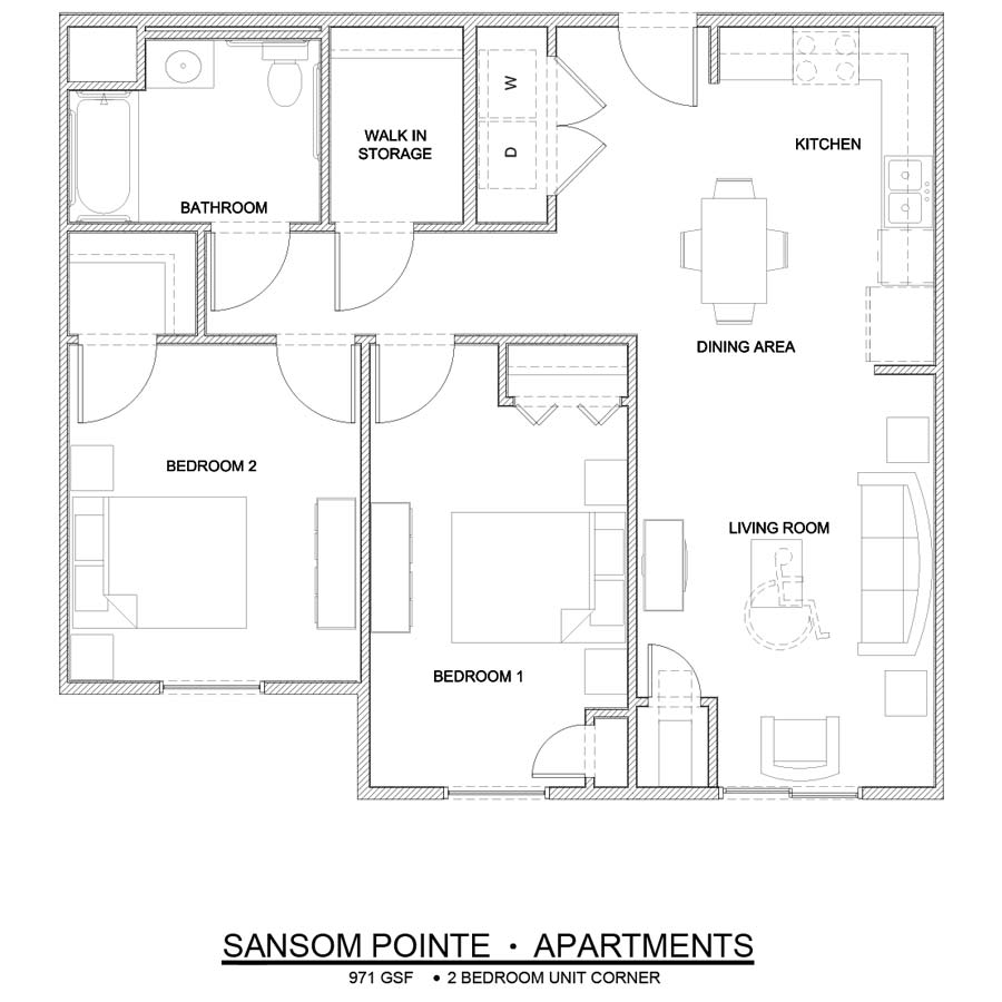 Sansom Pointe 2 Bedroom floor plan 971 square feet handicap accessible corner unit