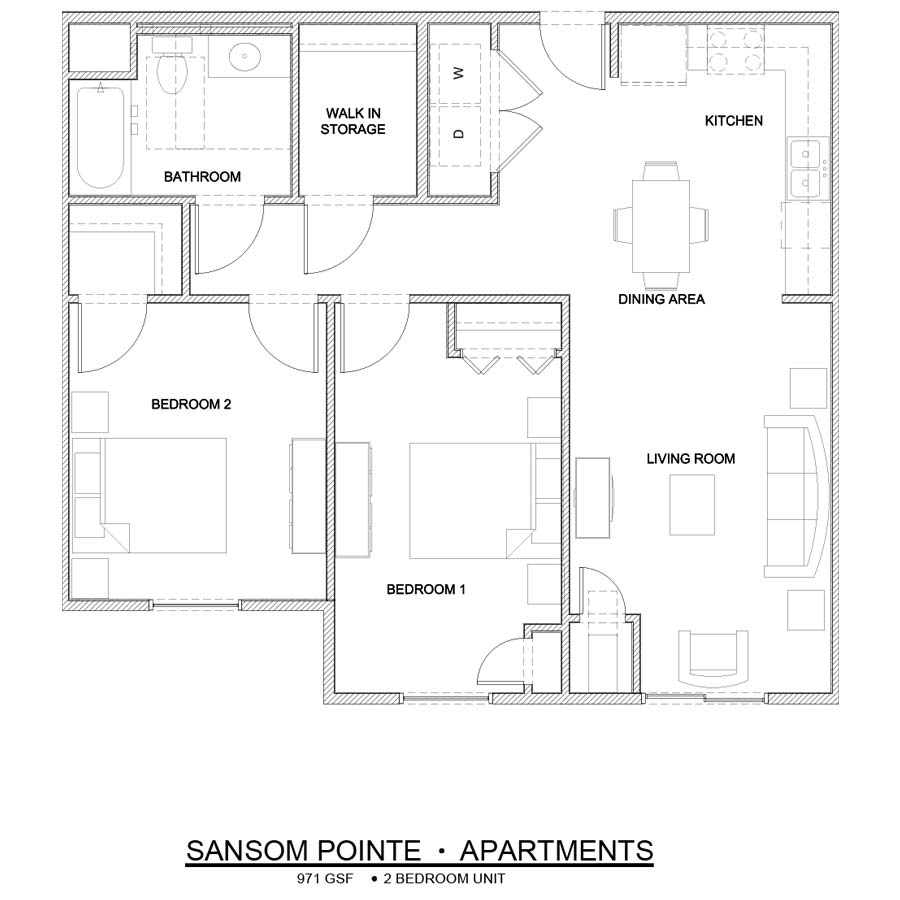 Sansom Pointe 2 Bedroom floor plan 971 square feet